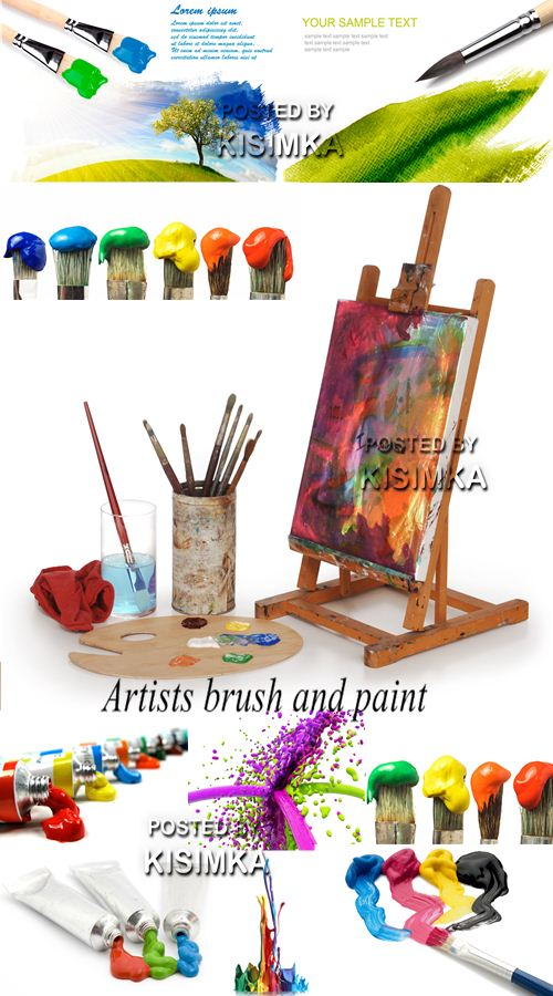 Stock Photo: Artists brush and paint