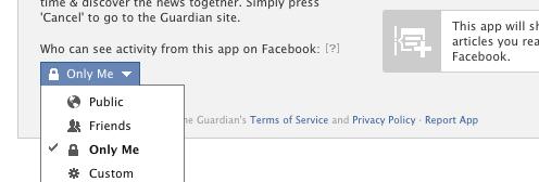 επιλογή του κοινού δημοσίευσης των πράξεών μου σε μια Facebook εφαρμογή