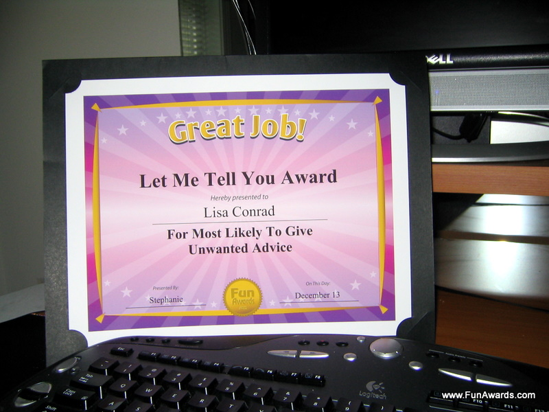 Funny Award By Comedian Larry Weaver.