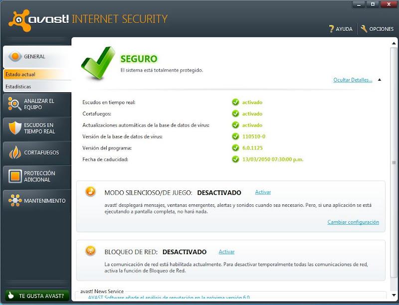Avast internet security v 6.0 1125