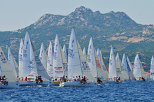 J/24s sailing off Sardinia starting line