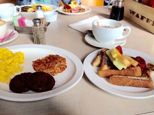 The Waffle LA, French Toast, Hash Brown, Eggs, Veggie Saussage