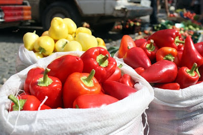 Peppers at a market in Pristina Kosovo