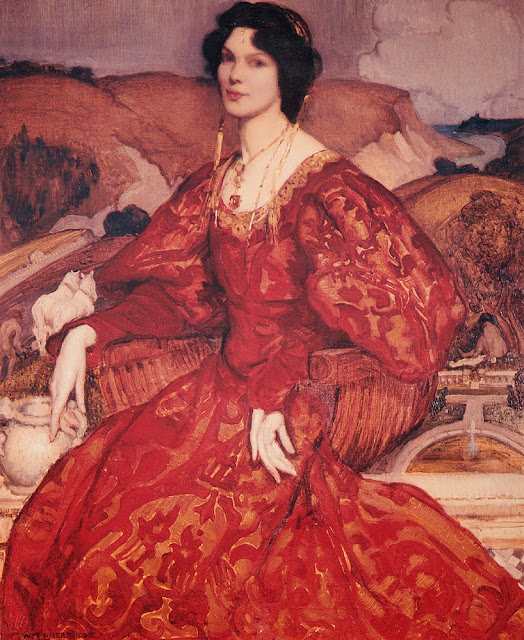 George Lambert - Sybil Walker in Red and Gold Dress,1905
