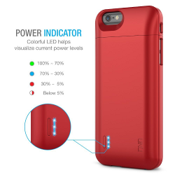 iPhone 6 Battery Case - UNU DX Protective iPhone 6 Battery Case ( 4.7 Inches) [Metallic Red] - MFI Apple Certified 3000mAh External Protective iPhone 6 Charging Case - image