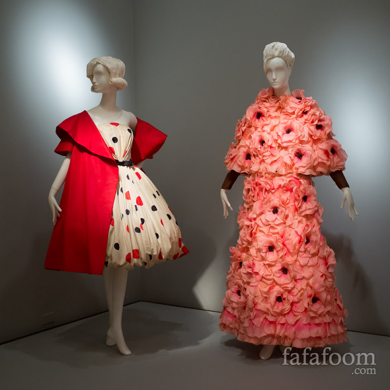 Arnold Scaasi, Evening ensembles, 1961 (left) and 1983 (right).