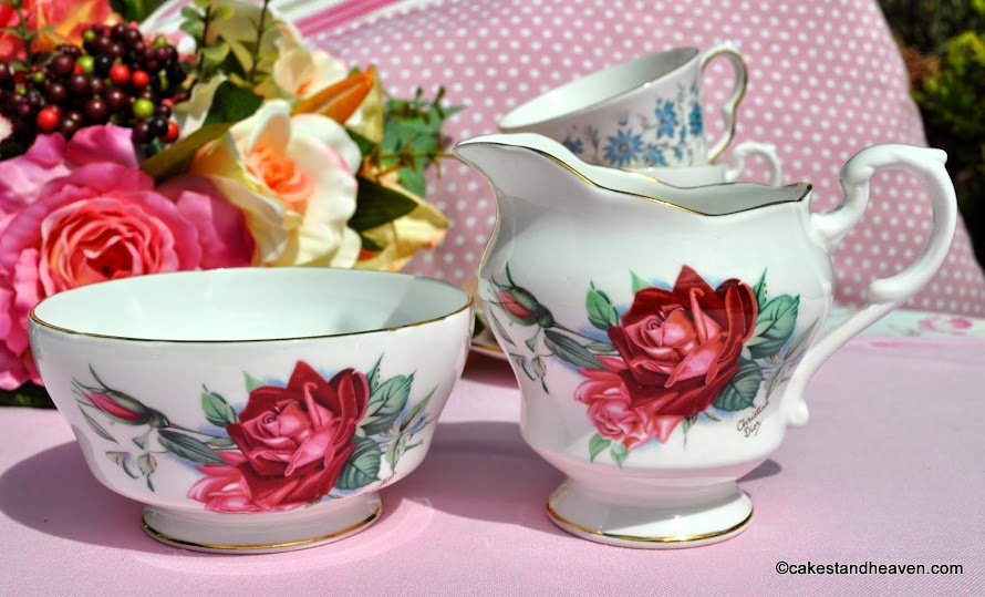 Royal Standard Christian Dior Rose creamer and sugar bowl