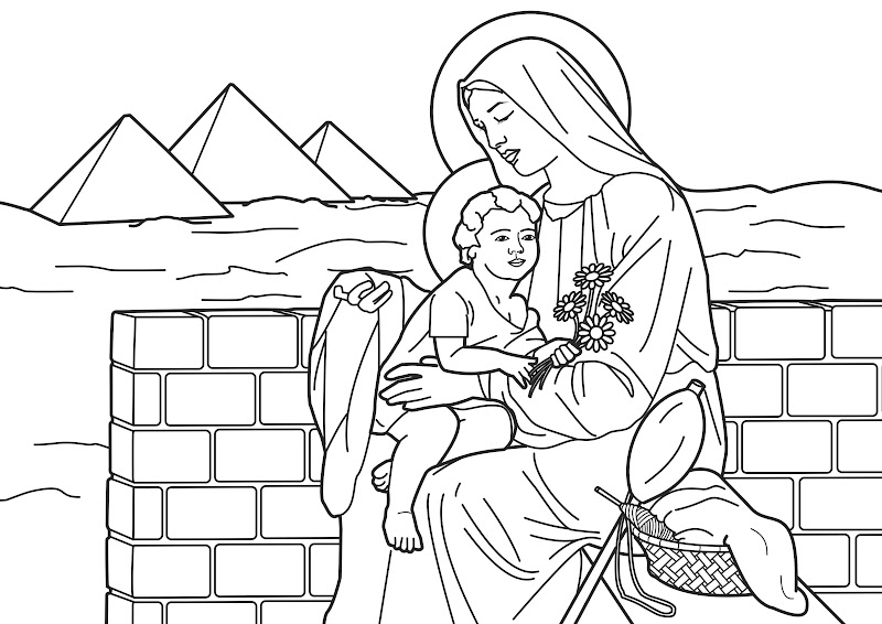 Virgin Marie and boy jesus in Egipt coloring pages