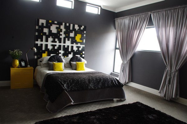 The Bathroom Is Also Designed Using A Mix Of Bright Yellow And Dark Color Gray In Want To Insert Wallpaper Enhance Art