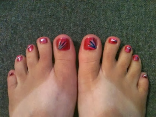 pink abstract toes