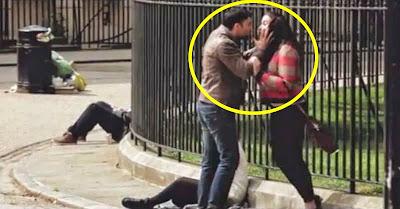 Homem agride namorada em plena rua de Londres e não vais acreditar na reacção das pessoas!!