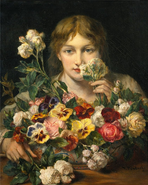 Jean-François Portaels - Young woman with flowers