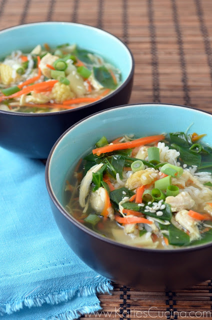 Asian Chicken Rice Soup by http://KatiesCucina.com #soup #recipe #asian #comfortFood