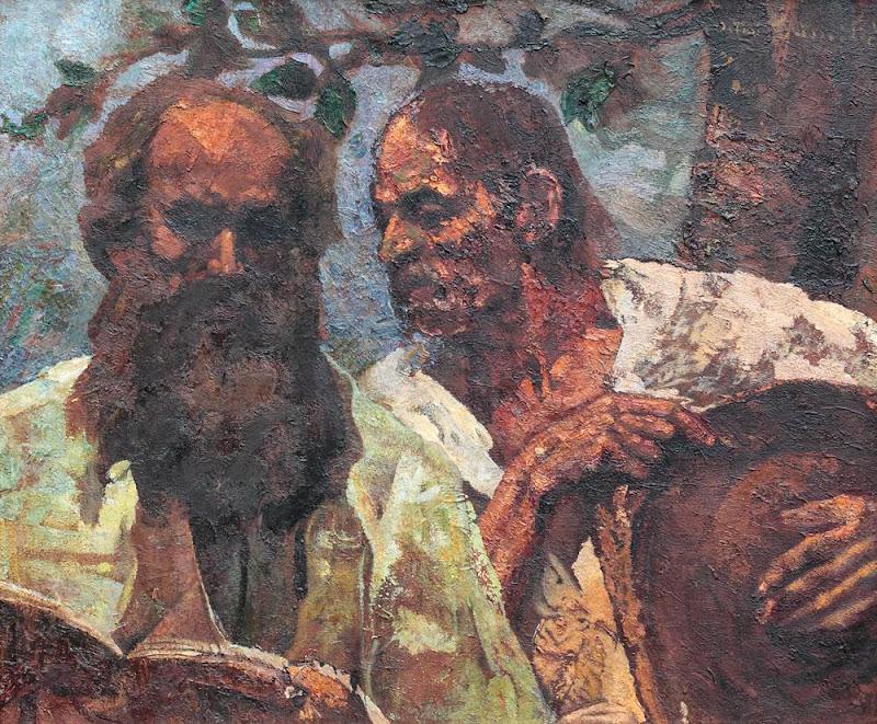 Octav Băncilă - Spovedania țăranului (Compoziție cu autoportretul pictorului)