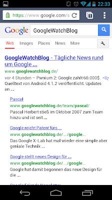 Neues Design auf Mobile im Oktober 2012 – Suchergebnisse