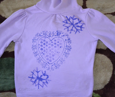 Heart Doily, bubble Wrap, pipe cleaner snow flake prints