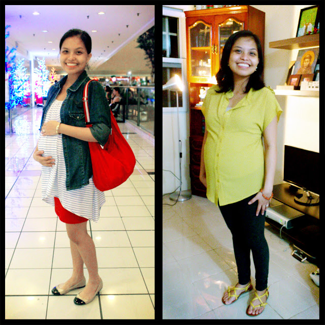 Me wearing (L) Scherbatsky, denim jacket on Mimin, striped spag oversized top and (R) Eloah yellow mustard sheer top