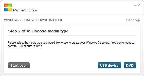 Windows USb Tool Choose Media Type