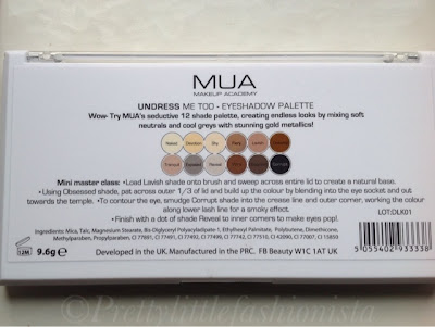 MUA Undress Me Too Palette  shade names