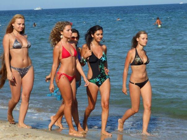 models at sea beach
