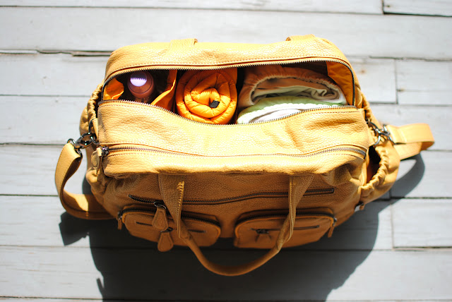 OiOi Baby Bag Faux Buffalo Mustard Carry All Inside View