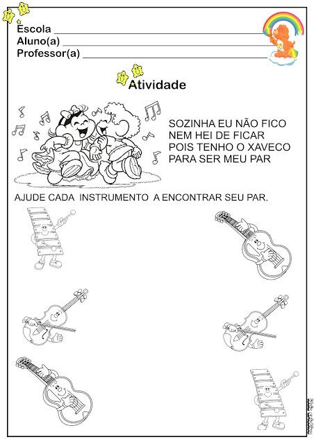 Atividade Educação Infantil Coordenação Motora/ Temática Música