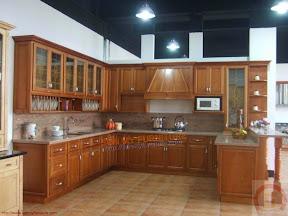 Kệ bếp gỗ ghép veneer vân gỗ xoan đào