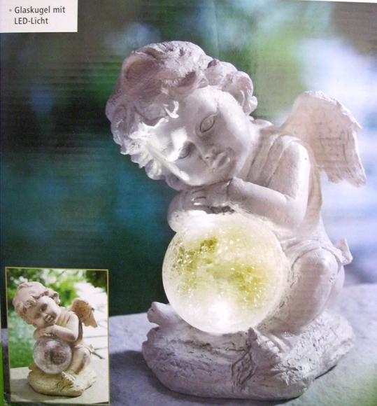 solar leuchte engel mit glaskugel led beleuchtung neu ebay. Black Bedroom Furniture Sets. Home Design Ideas