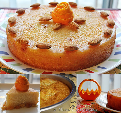 Orange Semolina Cake or Rava Cake