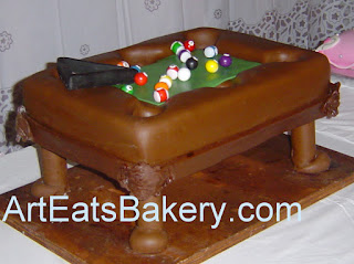 3D pool table Groom's with gum balls decorated with stripes, solids, numbers and the rack.