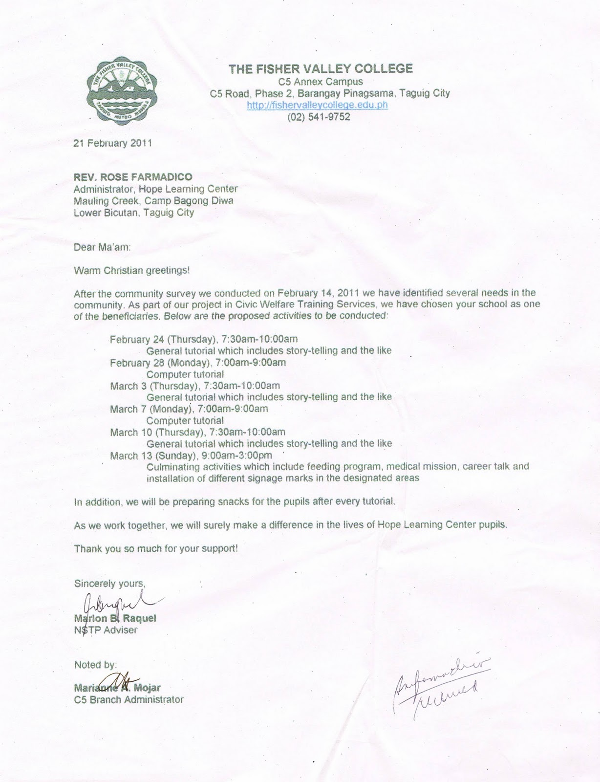 The fisher valley college february 2011 letter to hope learning center lower bicutan taguig city yelopaper Gallery