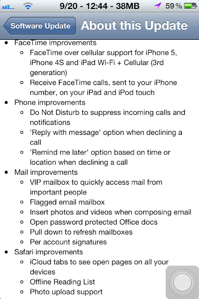 A screenshot showing software update iOS 6, facetime improvement and more.