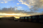Sunset over the busses