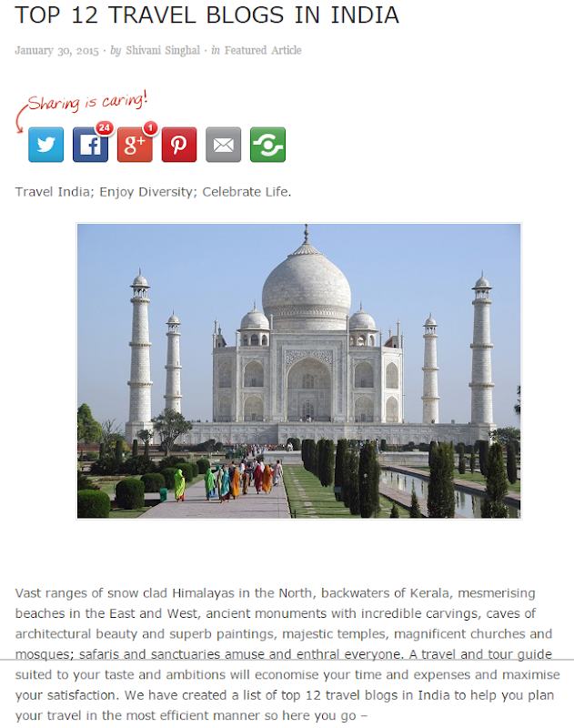Featured as one of the Top 12 Travel Blogs in India