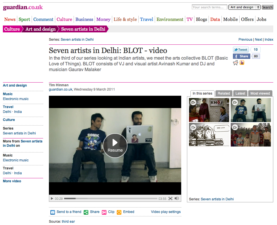 Media Blot Featured On The Guardian Uk Website B L O