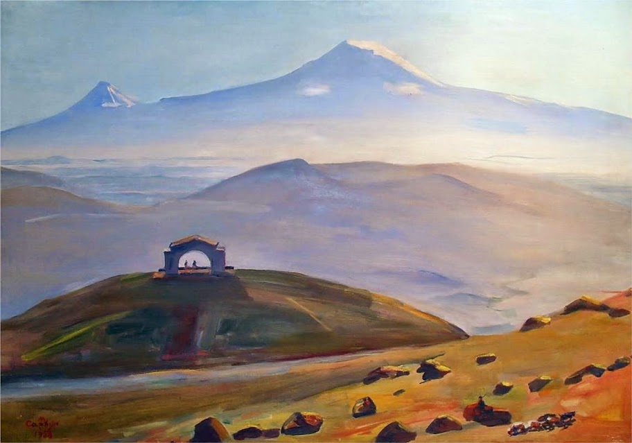 Martiros Saryan - Ararat and arch Charents, 1958