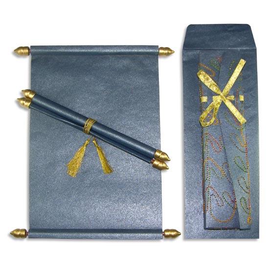 Invitación pergamino azul diamantado para quinceañera
