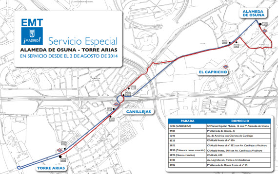 Autobús EMT entre Alameda de Osuna y Torre Arias por obras en Metro línea 5