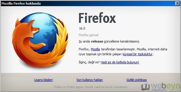 Firefox Hakkında penceresi - Sürüm 16