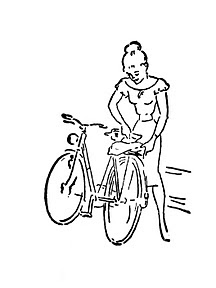 1950s girl with bicycle