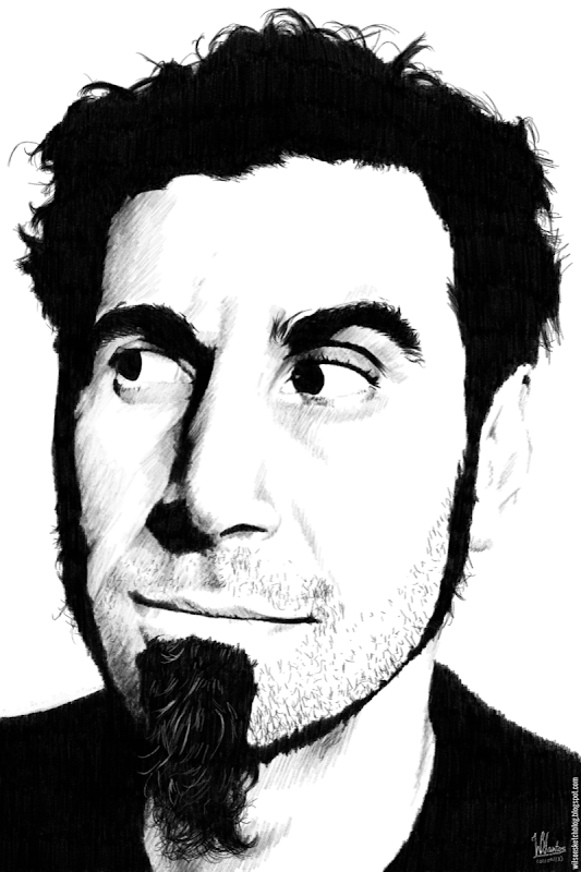 Ink drawing of Serj Tankian, using Krita 2.7 Alpha.