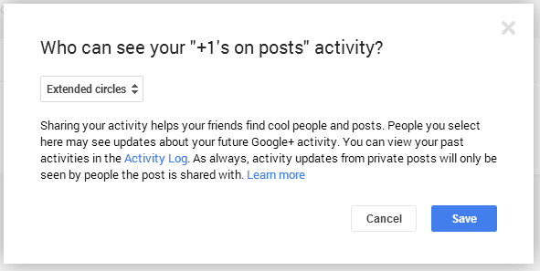 Google+1 Settings