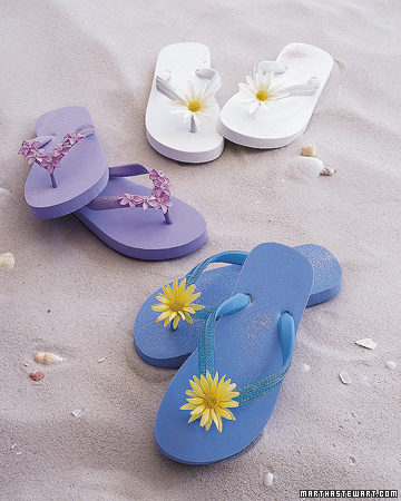 Embellished flip flops are so easy and inexpensive- they'd be fun for a summer party activity.