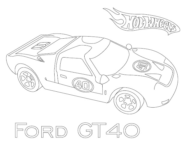 hot wheels  ford gt40 coloring page