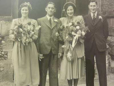 Arnold and Mand Parker's weddingJune 5 1948 Nancy Griggle,bridesmaid, Arnold's twin best man