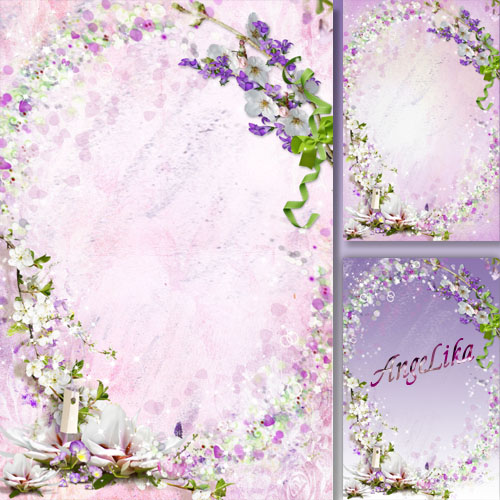 Flower Frame - Apple Flowers in a Lilac Smoke
