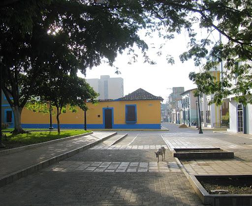 Casa amarilla y perro en la plaza Jose Felix Ribas de La Victoria, Aragua, Venezuela