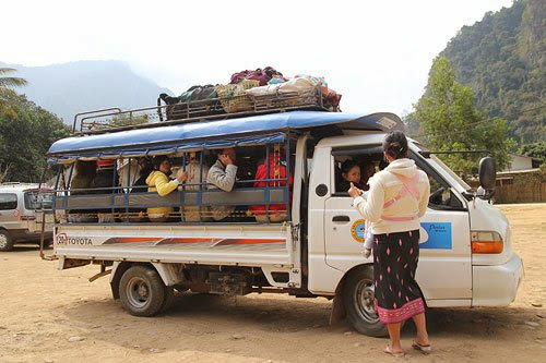 songthaews in Laos, getting around in Laos, taking the bus in laos