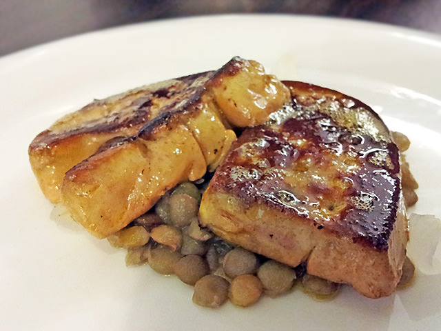 Pan-fried foie gras with lentils