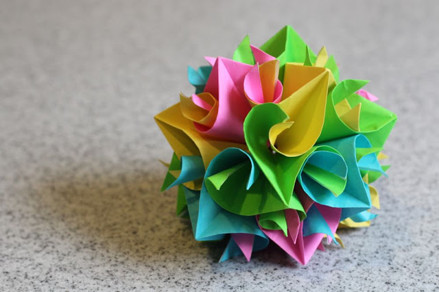 some kind of shape made from curler units (origami)